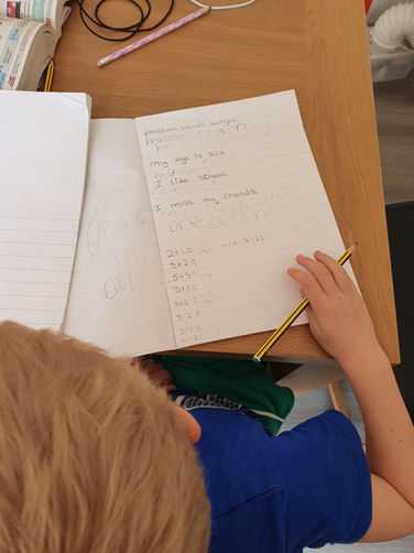 Practicing handwriting and letter formation