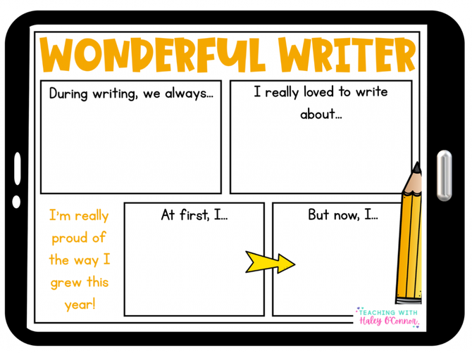 Reflect on your writing through year 2.