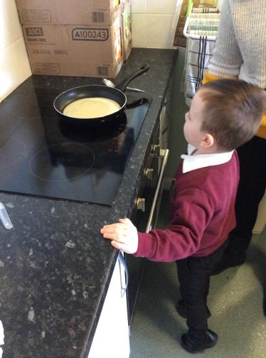Then we poured it in the pan.