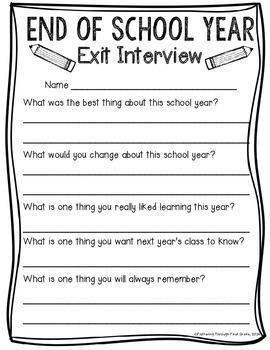 Write the answers to the Exit Interview as you come to the end of year 2.