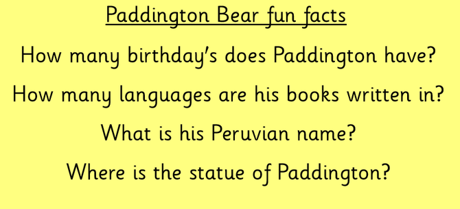 Paddington questions start of the lesson