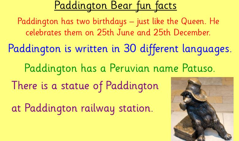 Paddington information start of the lesson