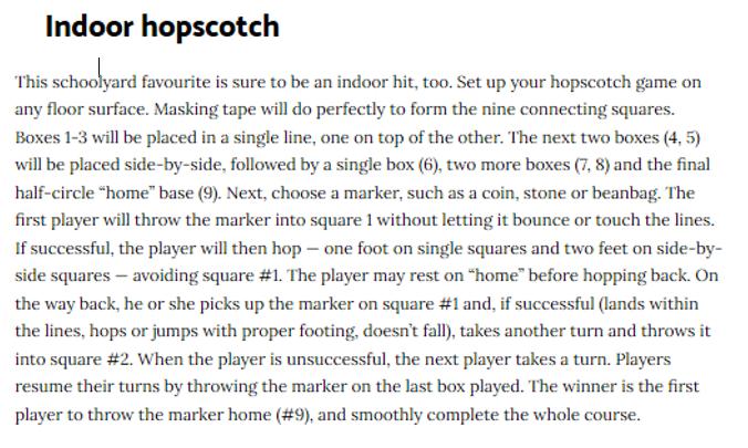Indoor Hopscotch