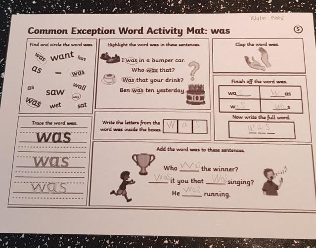 Practicing the word 'was'