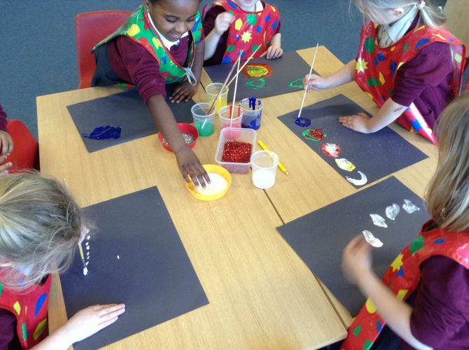Space and glitter paintings!