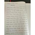 Alicia's handwriting work