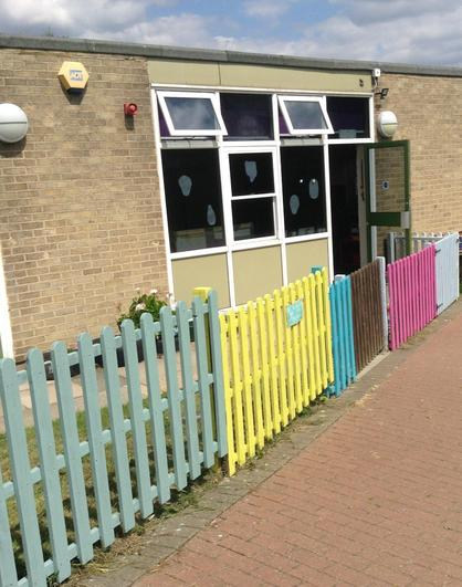 We have lovely bright fencing outside our classroom.