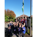 Our morning children with our new Green Flag