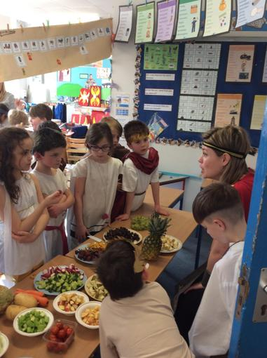 In the Roman market, we tasted food and discussed which foods the Romans brought to England.