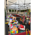Setting up the Toy Stall at The Christmas Fair