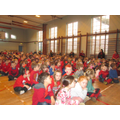 All the children dressed in red for Red Nose Day