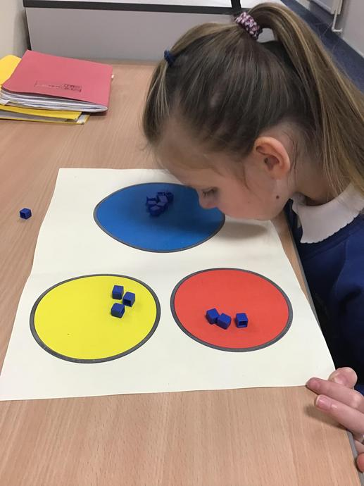 [Picture of child using specialist maths equipment]