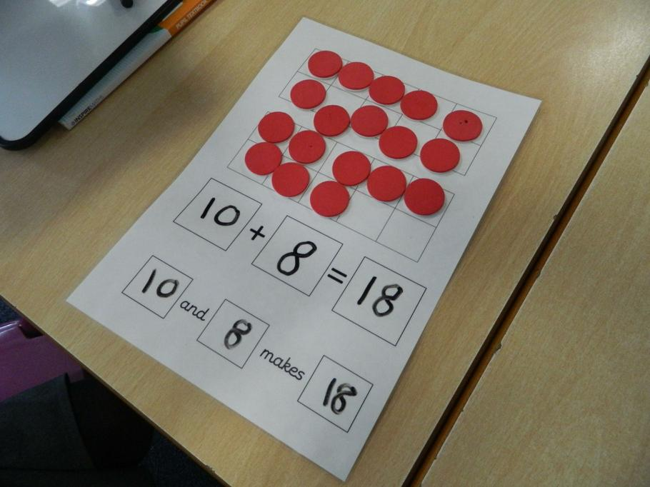 Using the tens frame to show amounts