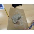 Clay sculptures of sea creatures