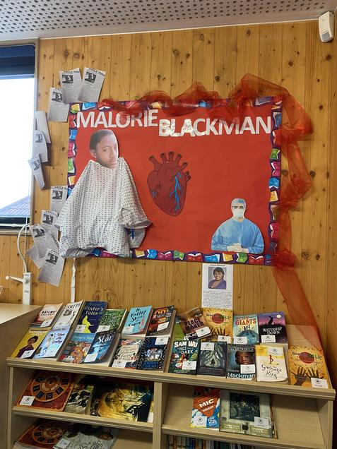 Year 6 Reading Display linked to Malorie Blackman Author Focus