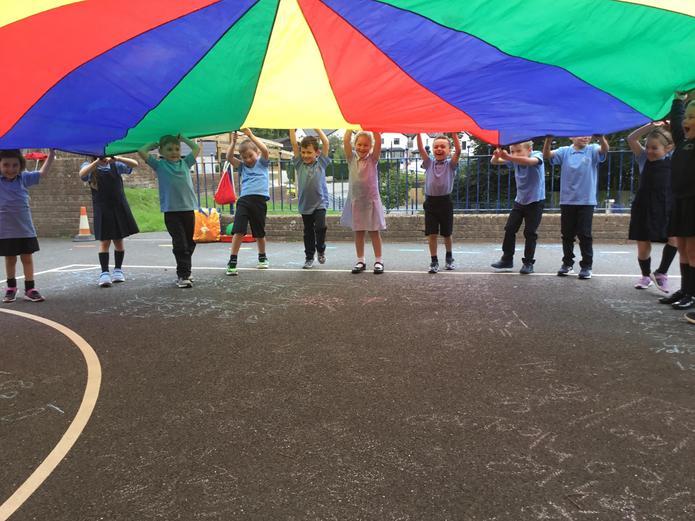 Rainbow parachute fun!
