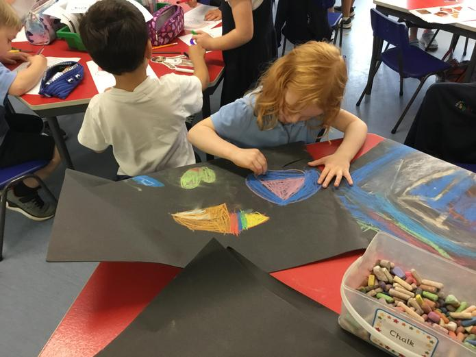 Experimenting with colour using chalk.