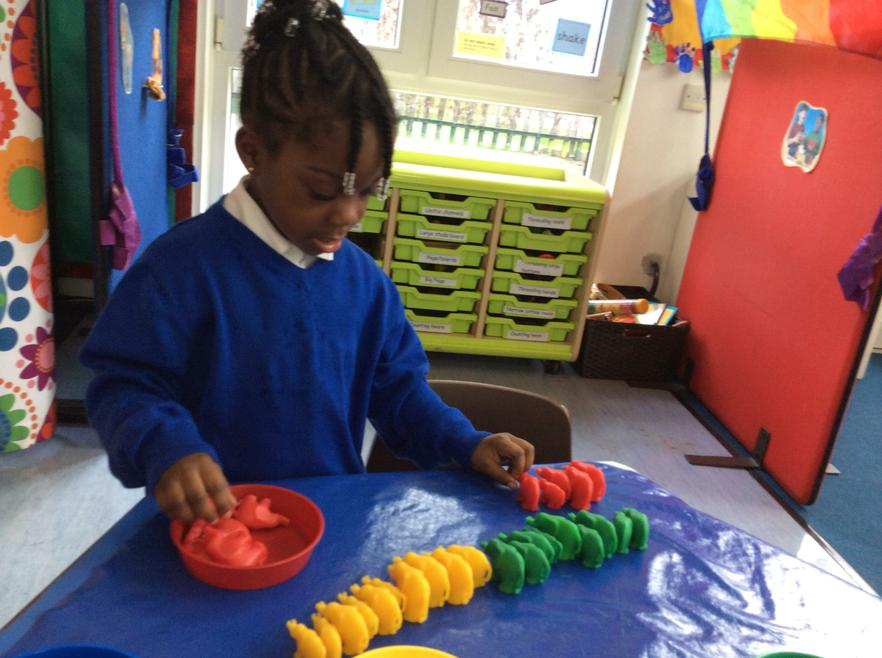 We practise our counting in the maths area