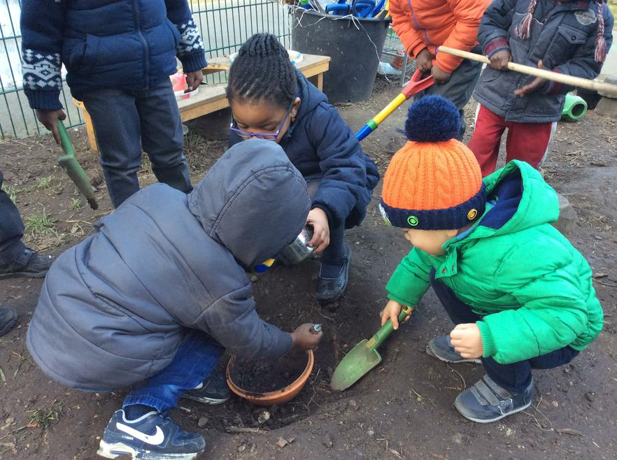We have been making cakes in our mud kitchen