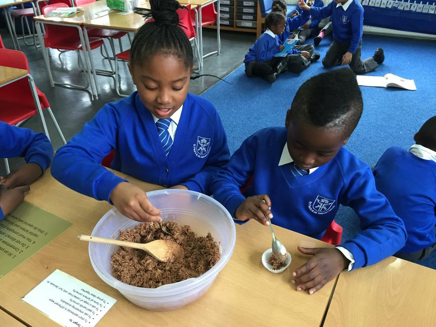 We enjoyed making chocolate nests in class!