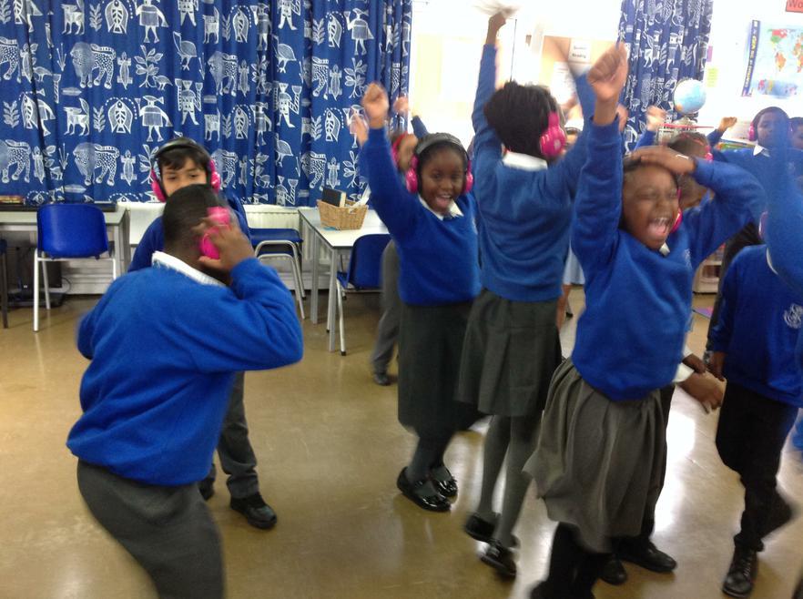 The children cheering
