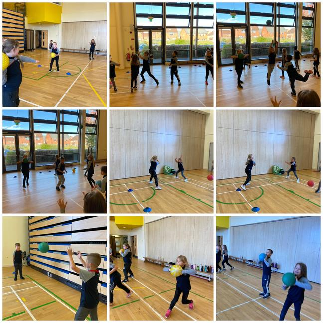 Pupils learning the attack and defense skills needed for handball