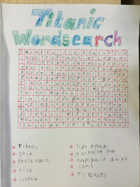 Riley Hall's word search....can you find them all?