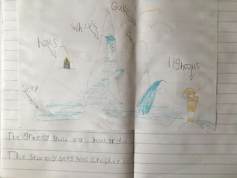 Rose's super drawing of the Lighthouse Keeper's home