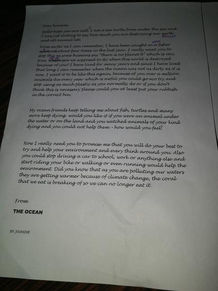 Jasmine's letter