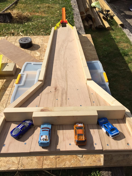 Sam made a wooden ramp for the friction expt