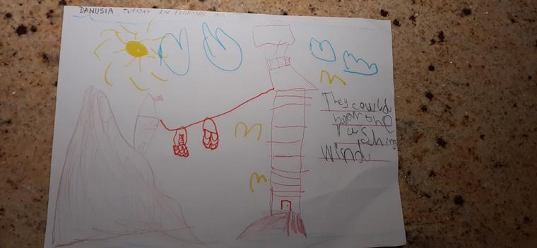 Danusia's fantastic drawing of the Lighthouse Keeper's home