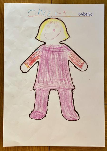 Charis coloured in a picture of herself.
