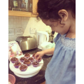 Diyenka helping mummy to make some yummy cakes