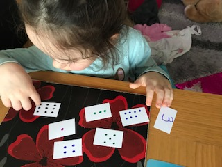 Zoe is doing some careful butterfly counting.