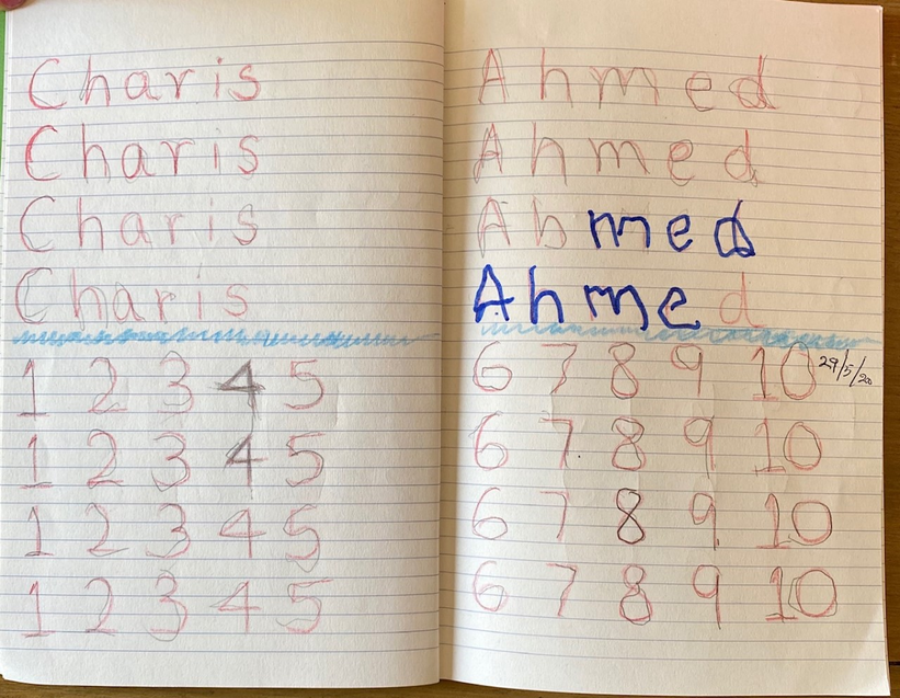 Super writing of your name and numbers Charis.