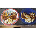 Mason and Teddie's toast and bananas..yum