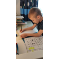 Bogdan practising his writing