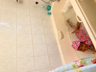 Bath time for Rebecca!