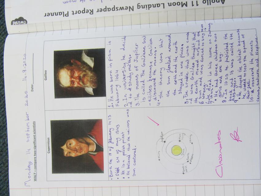 Comparing Copernicus and Galileo.