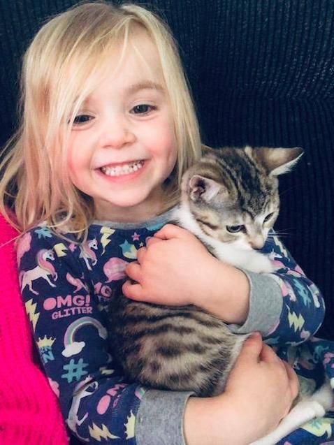 Scarlett with her new kitten, Lacey!