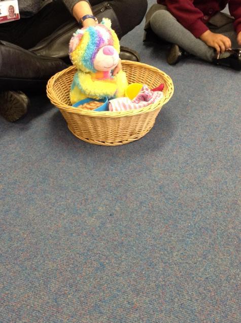 Rainbow Bear was stuck in his basket