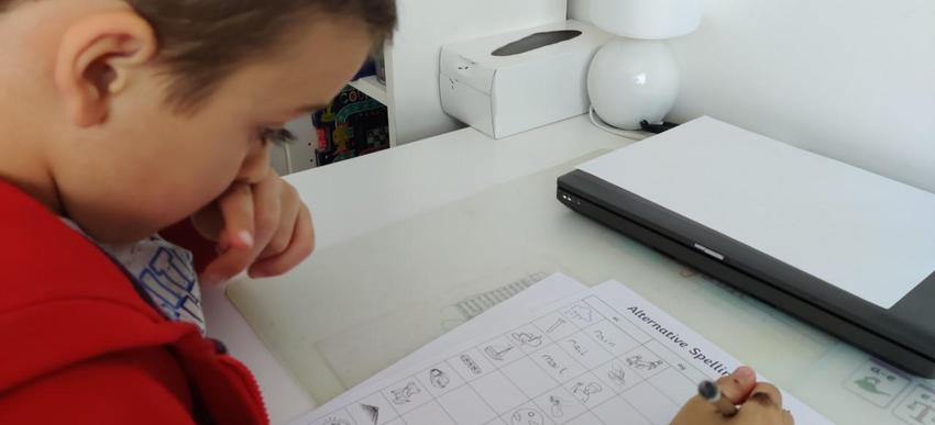 Bogdan working on his phonics