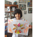 A lovely flower painting and sticking.
