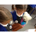 Poppy and Kaiya showing him around the class.