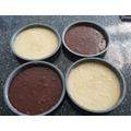 2 chocolate cakes and 2 vanilla...yummm
