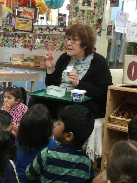 Mrs Foster shows us ice.Where do we keep ice?