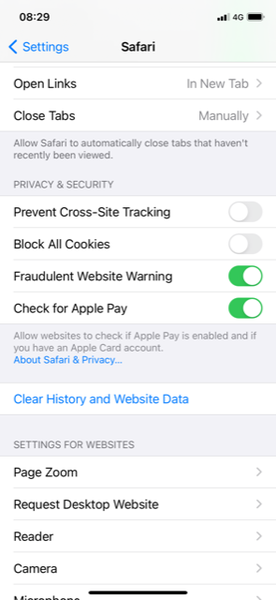 Make sure that prevent cross-site tracking and block all cookies are turned off