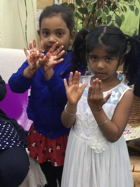 Nuwairah and Sehaj have mendhi patterns with henna.