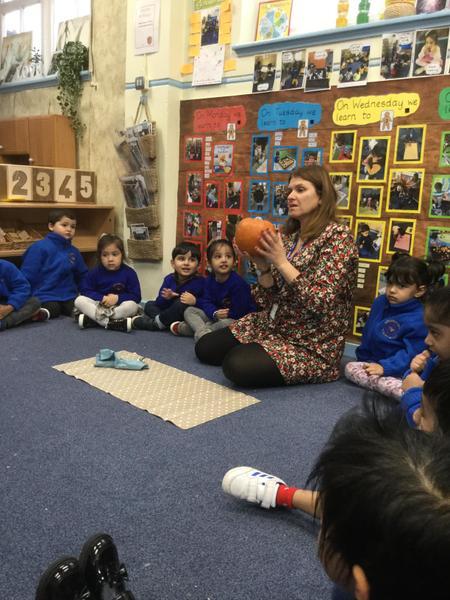 Mrs Bodle carves a pumpkin