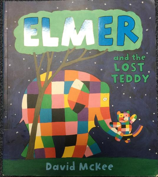 Baby elephant has lost his teddy and is very upset. Elmer says he will find it